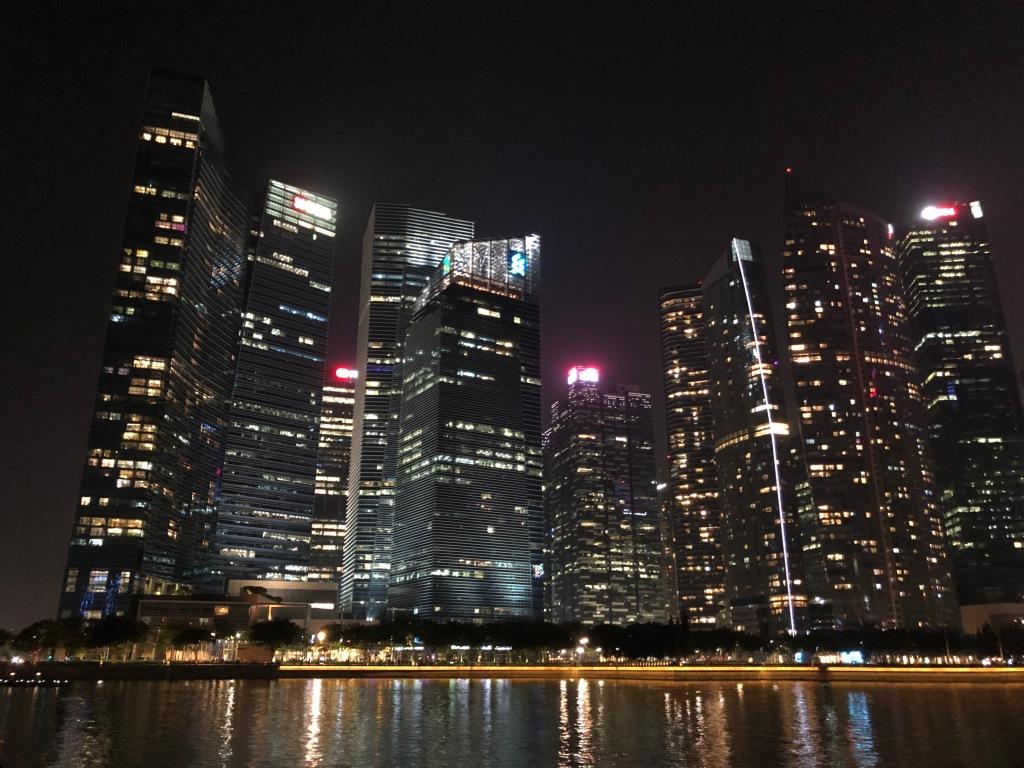 Singapore financial skyline, by night